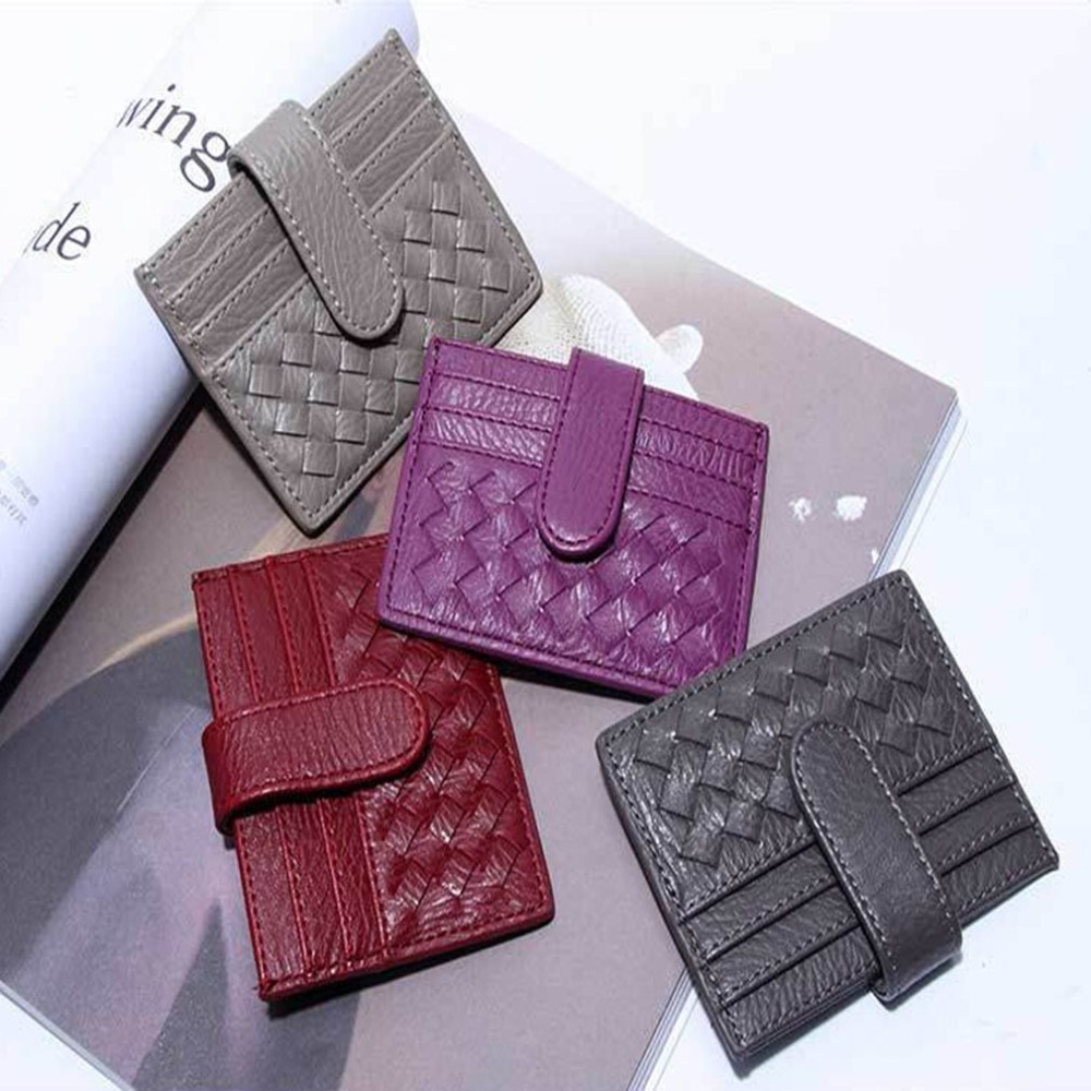 Package PU Leather Woven Wallet ID Credit Card Holder Cash Pocket Small Wallet