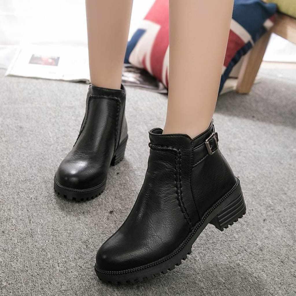 สายรัดหัวเข็มขัดนักเรียนรองเท้าผู้หญิงสบายๆรองเท้าส้นสูงหนารองเท้าเดียวแฟชั่น PU หนัง Pointed Toe รองเท้า botas mujer