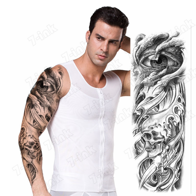 Black Temporary Tattoo Sticker Hawk Eye Dagger Robot Arm Skull Full Arms Flash Tattoos Sleeve  Fake Tattoo For Men And Women