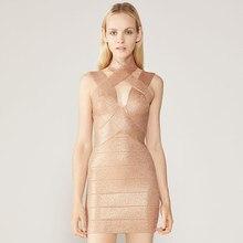 Adyce-Vestido corto ajustado sin mangas para mujer, minivestido Sexy con agujeros para fiesta y pasarela, color dorado, 2021