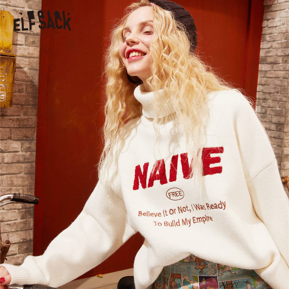 ELFSACK White Solid Letter Print Korean Women Pullover Sweaters 2020 Spring New Year High Collar Loose Casual Ladies Daily Tops