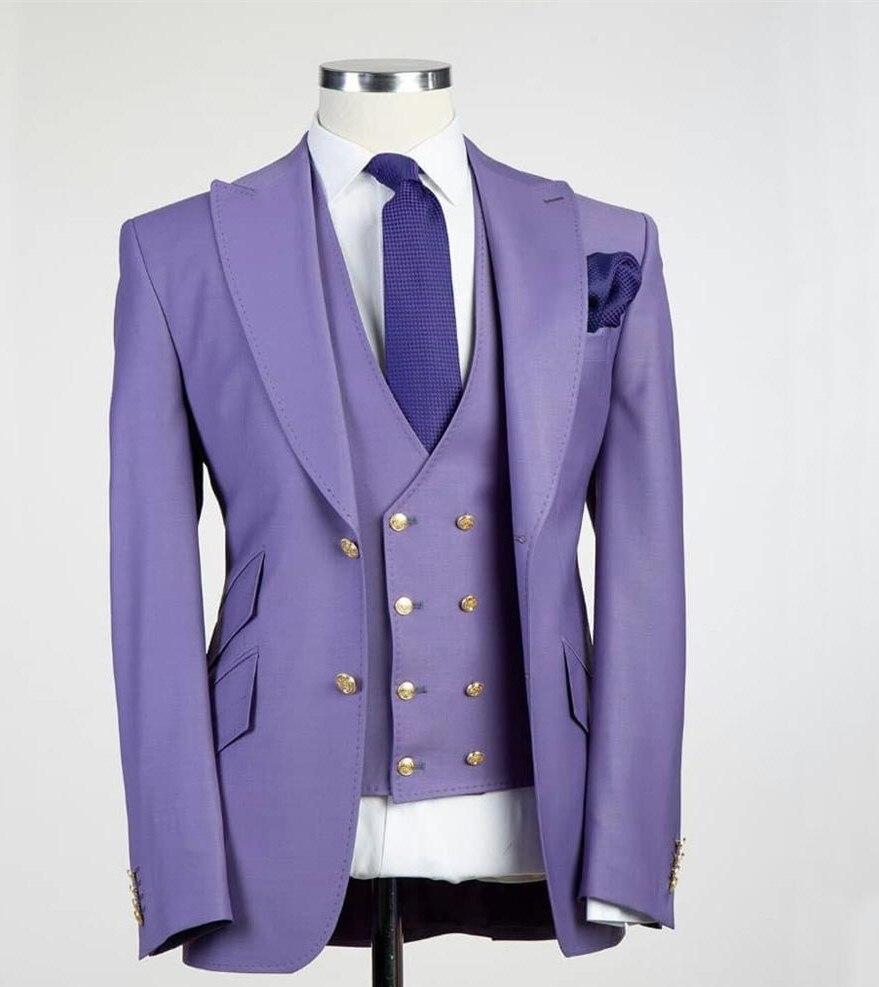 Custom Made Groom Tuxedo Best Men's Wedding Dress Top Lapels Double Buckle Men's Formal Party Suit (Jacket+Pants+Vest)