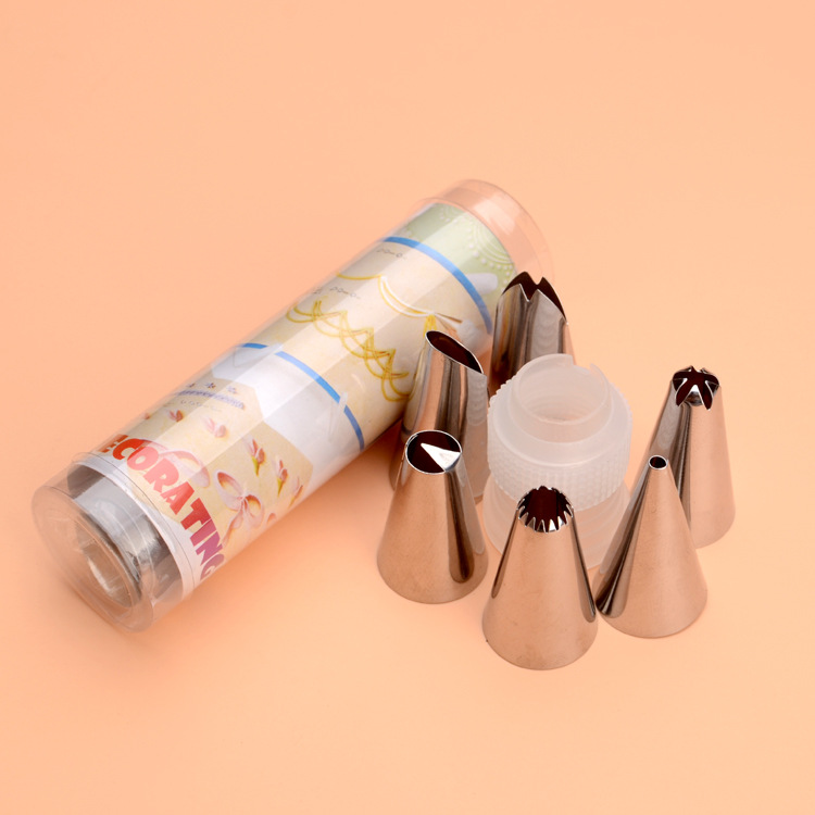 Decorating Nozzle Set 6 Head Cylinder Packing Stainless Steel Butter Cookie Pastry Nozzle Converter Small