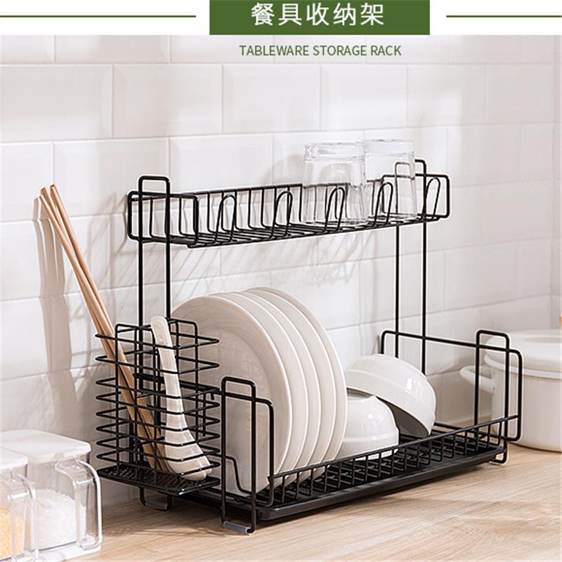 NC Kitchen Double Layer Tableware Storage Shelf Dishes Storage Rack Cup Rack with Chopsticks Box Draining Shelf