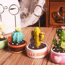 1PC Mini Cactus Bonsai Fleshy Note Folder Desktop Message Clip Card Holder Office School Home Decoration INS Style Hot Sale