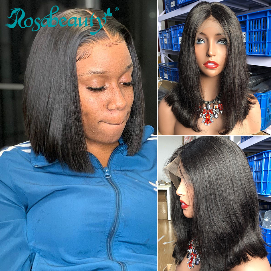 Rosabeauty 250 Density Brazilian Short Bob Remy Wig Straight Lace Front Human Hair Wigs Natural Lace Frontal Wig For Black Women