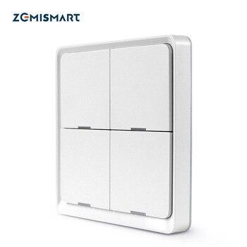 Zemimart 4 gangs Tuya Zigbee commutateur sans fil Zigbee 3.0 autocollant batterie alimentation télécommande