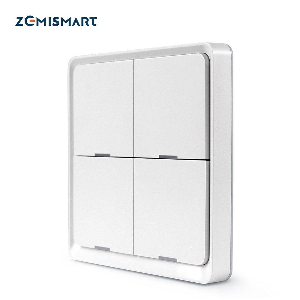 Zemismart 4 Gang Tuya Zigbee Wireless Switch Zigbee 3 0 Sticker Battery Power Remote Control SmartThings Control