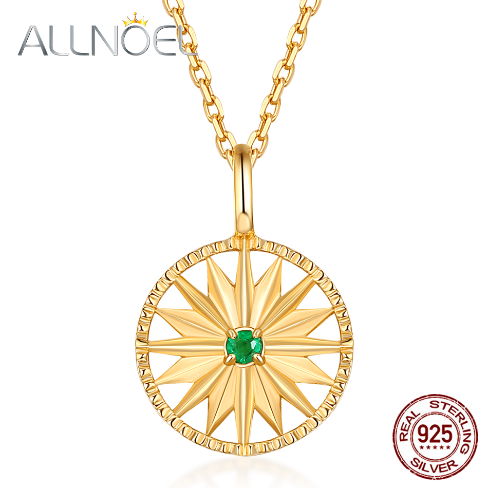 ALLNOEL 925 Sterling Silver Necklace For Women Emerald Diamond Necklaces Round Chrysanthemum Design Gold-plated Fine Jewelry New