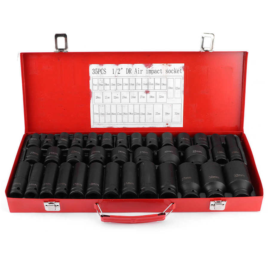 35Pcs 8 32mm Hex Socket Sleeve Set 1/2in Drive Metric Deep Impact Ratchet Wrench Socket Air Impact Socket Auto Repair Hand Tool|Sockets| - AliExpress