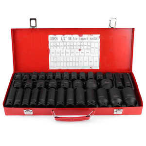 35Pcs 8-32mm Hex Socket Sleeve Set 1/2in Drive Metric Deep Impact Ratchet Wrench Socket Air Impact Socket Auto Repair Hand Tool