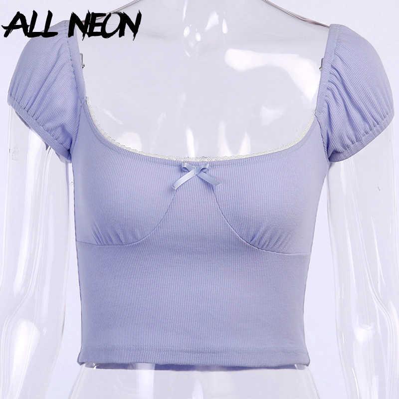 ALLNeonหวานY2K Ribbed SquareคอCropเสื้อยืดฤดูร้อนEสาวBacklessพัฟแขนเสื้อสีม่วงแฟชั่นStreetwear
