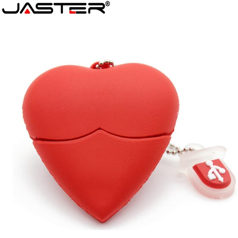 JASTER U Disk Pen Drive 4GB 8GB 16GB 32GB Cartoon Red Heart Best Gift Usb Flash Drive