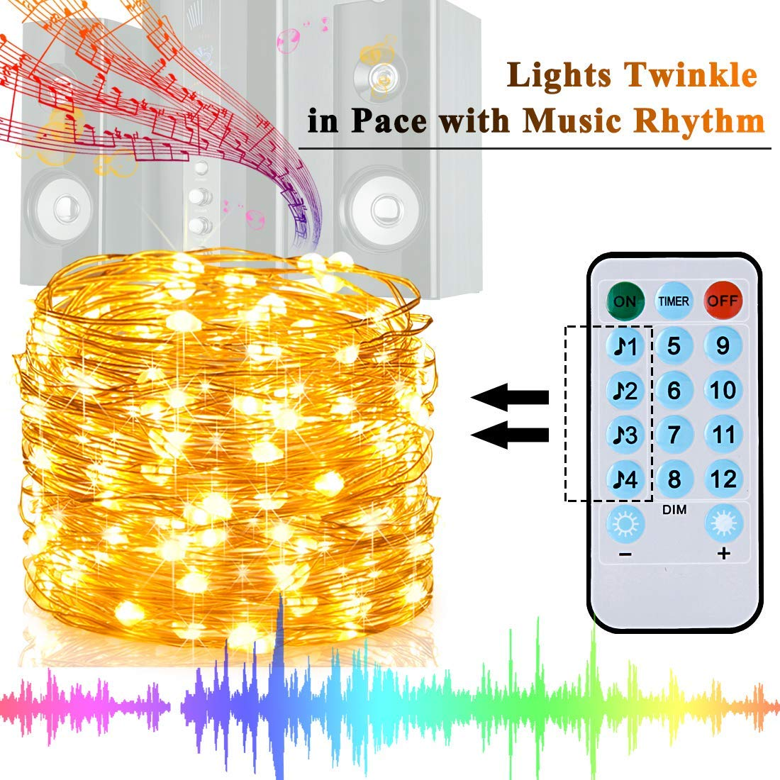 33ft LED String Lights 10M Street Garland Light Outdoor Christmas Fairy Lights Warm White Starry Light With Remote Control