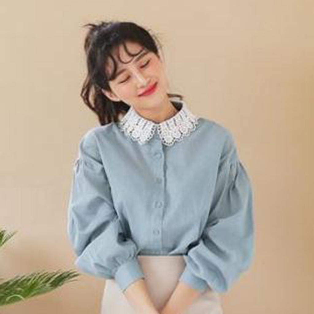 White Chiffon Flower Women Detachable Half Shirt Blouse Fake Collar Bib