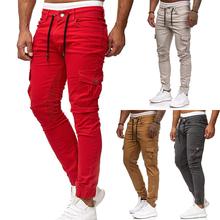 2020 nowych mężczyzna spodnie dresowe na co dzień wiosna jesień w stylu Casual plisowana spodnie do biegania Slim Fit męskie długie spodnie męskie moda Cargo spodnie tanie tanio CALUOMATT Mieszkanie Poliester Luźne Casual joggers sweatpants Midweight Pełnej długości Zipper fly