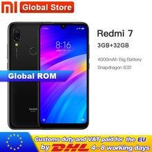 Xiaomi Redmi 7 с глобальной ПЗУ, 32 ГБ, 3 ГБ, Восьмиядерный мобильный телефон Qualcomm Snapdragon 632, 4000 мАч, 12 МП, 6,26 дюйма, полноэкранный 19:9