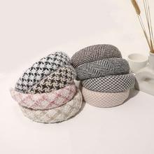 Autumn Winter Small Fragrance Sponge Headband for Women Girls Fashion Woolen Hair Bands Striped Plaid Hair Headgear Accessories