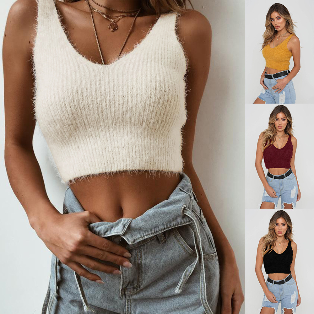 Spring And Summer Sweater Stock Deficit Closeout Four Colors Mohair Sleeveless Vest Sweater WOMEN'S Dress New