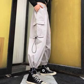 Hip Hop Solid Cargo Pants Women Black High Waist Pocket Trousers Streetwear Womens Joggers Sweatpants Autumn Dance Pants Girls 2