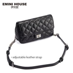 Image 2 - EMINI HAUS Diamant Gitter Taille Pack Öl Wachs Echtem Leder Kette Tasche Umhängetaschen Für Frauen Schulter Tasche Damen Geldbörse