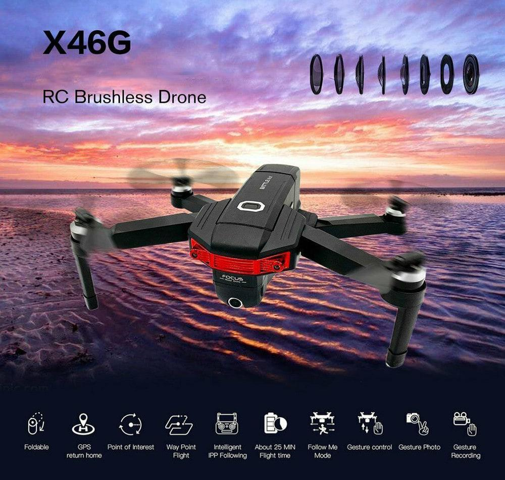 RCtown X46G Portable GPS 5G WiFi FPV with 4K Dual Cameras Brushless RC Drone