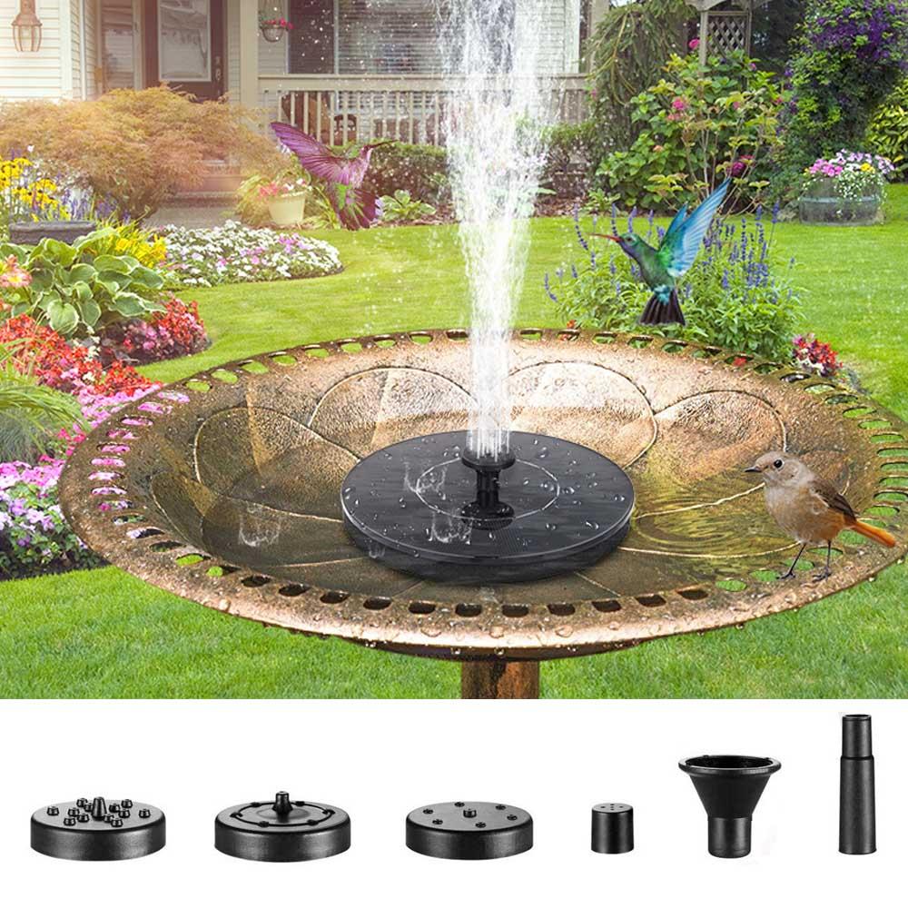 Mini Solar Powered Fountain Water Fountain Pool Pond Floating For Bird Bath Patio Landscape Outdoor Garden Decoration