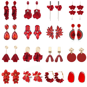 2019 New Vintage Exaggerate Red Acrylic Petal Tassel Statement Drop Earrings For Women Girls Wedding Ear Accessories Brincos
