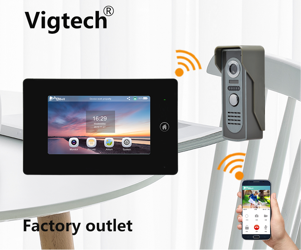 Wifi Doorbell With Monitor And Camera Remote Intercom Unlock Video Doorbell 7inch Touch Screen Wifi Intercom Android smart bell