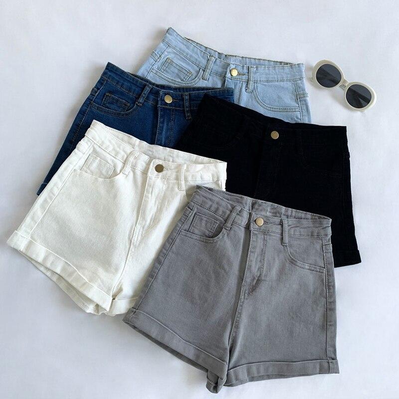 Casual Blue Denim Shorts Women Sexy High Waist Buttons Pockets Slim Fit Shorts 2020 Summer Beach Streetwear Jeans Shorts