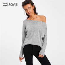 COLROVIE Grey Batwing Sleeve Sweater Women 2019 Fall Ladies Solid Sexy Off the Shoulder Sweater Long Sleeve Casual Pullovers(China)