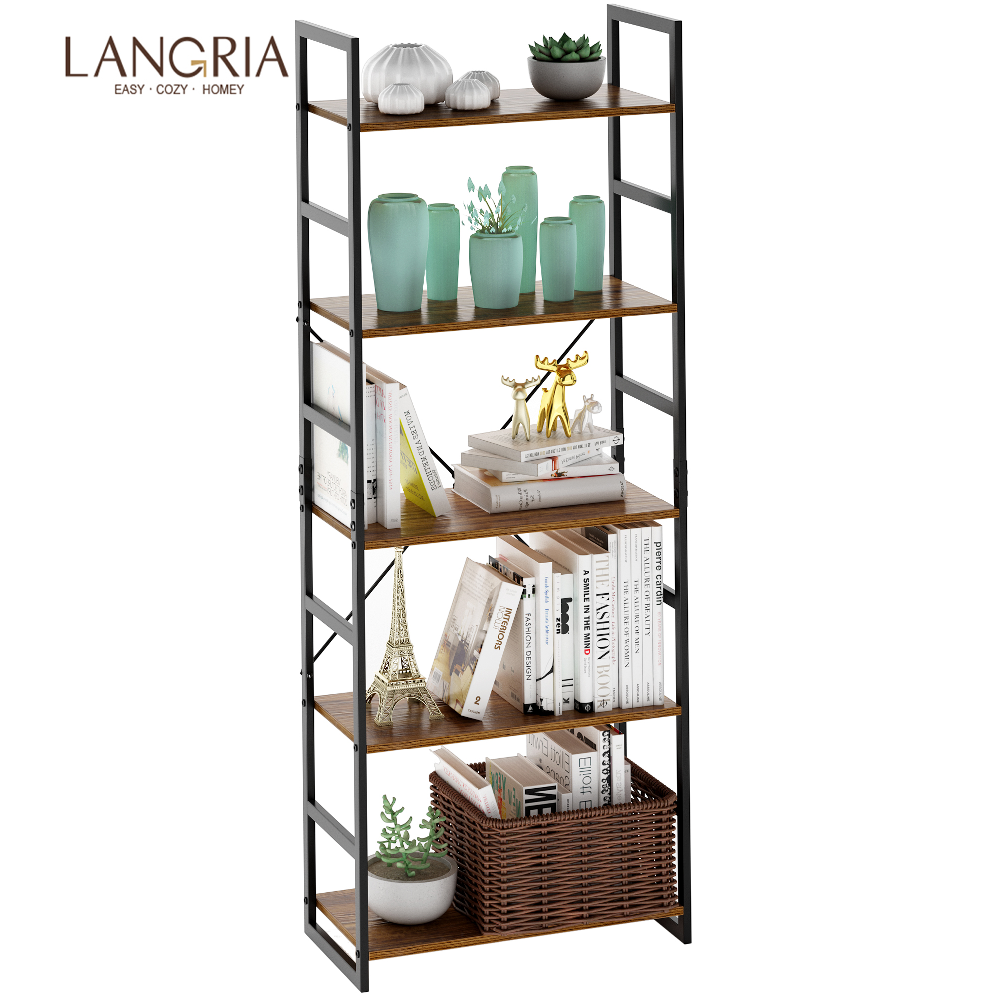 LANGRIA Metal Bookshelf Organizer Sturdy 5-layer Multifunctional Rack Shelf Shelving For Books Plants Boxes Antique Wood Design