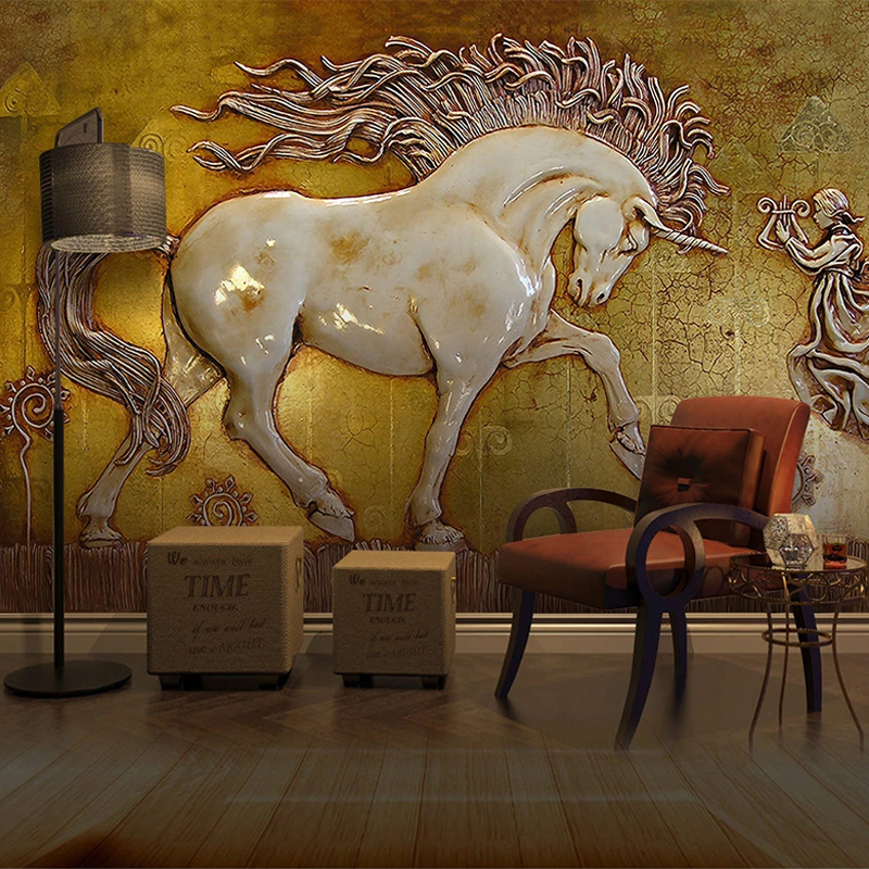 Custom Any Size Abstract 3D Stereoscopic Relief Horse Art Wall Painting For Living Room Study Room Bedroom Wall Murals Wallpaper
