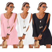 купить Casual sexy Dress Autumn Winter 2019 New Fashion Women Solid Long Sleeve Openwork Sleeve O-Neck  Knee-Length Dress S-2XL дешево