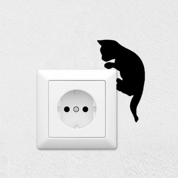 Hot 6x10cm Black Cat Wall Sticker Switch Film Removable PVC Switch Sticker for Living Room Bedroom image