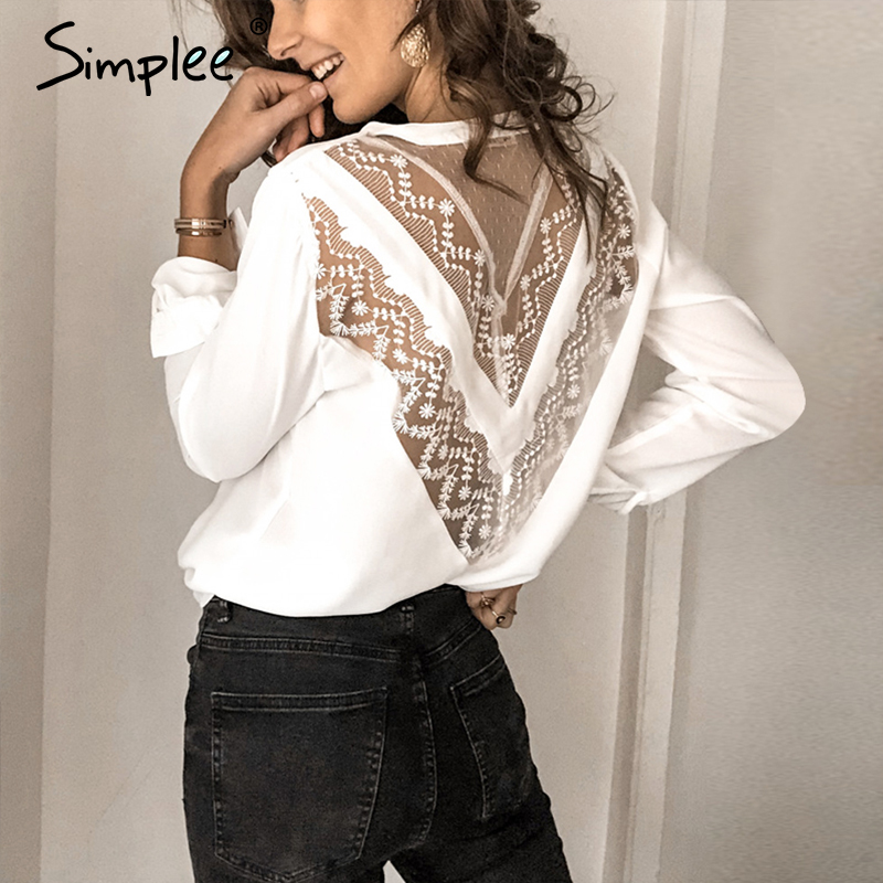 Simplee Sexy Embroidery Lace Mesh White Women Blouse Shirt Elegant Back Hollow Out Long Sleeve Female Tops Ladies V Neck Tops