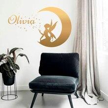 Cartoon Fairy Wall Sticker Vinyl Art Home Decor For Kids Room Nursery Moon Star Decals Angel Murals Personalized Girls Name 3693
