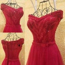 Xl9542 vestido דה festa אדום שמלה לנשף v צוואר כבוי כתף חרוזים ארוך ערב המפלגה שמלת סיום vestido דה festa לונגו