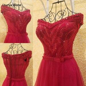 Image 1 - xl9542 vestido de festa red prom dress v neck off shoulder beaded long evening party dress for graduation vestido de festa longo