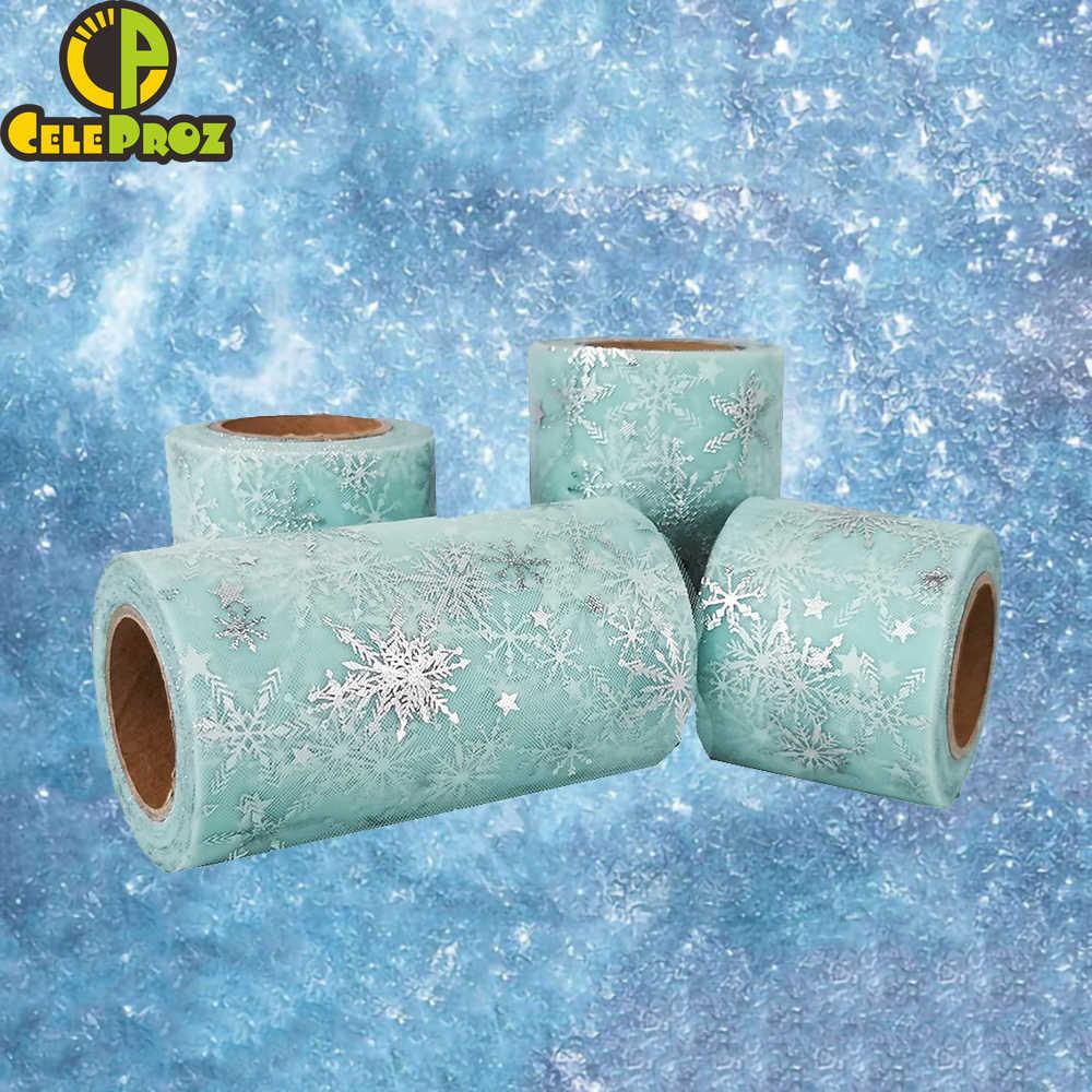 เกล็ดหิมะTulle Roll Fronzen Star Organzaตาข่ายผ้าริบบิ้นของขวัญโบว์DIYเย็บกระโปรงTutu Pomsจัดงานแต่งงานอุปกรณ์งานเลี้ยงวันเกิด