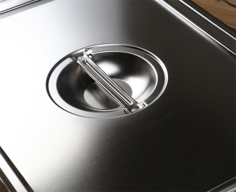 Прямоугольная квадратная раковина из нержавеющей стали 304 с плоским дном и покрытым блюдом, тарелка для буфета, тарелка для еды, жареная тарелка, лоток для хранения барбекю-4
