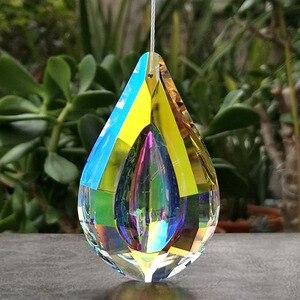 Image 5 - Colorful Crystal Suncatcher Loquat Pendant Chandelier Prism Lamp Parts Hanging Ornaments Home Wedding Party Decor Figurine