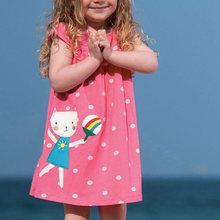 Casual Cartoon Dot Print Dress 2021 Childrens Summer New O Neck Baby Girl Clothies Europe And America Cute Pink A Line Dresses