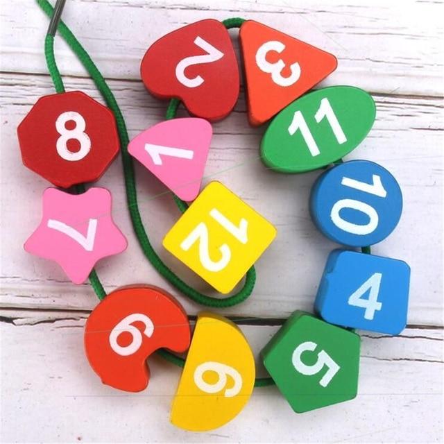 Montessori Cartoon Animal Educational Wooden Beaded Geometry Digital Clock Puzzles Gadgets Matching Clock Toy For Children 3