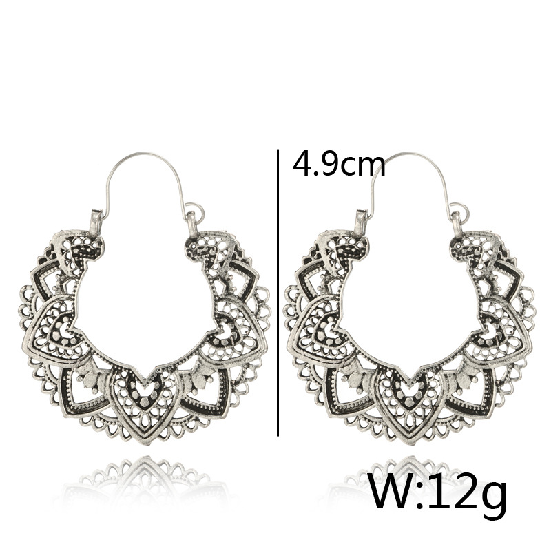 Tocona Vintage Antique Silver Color Carving Drop Earrings for Women Ethnic Alloy Piercing Dangle Earrings Jewelry pendient4313