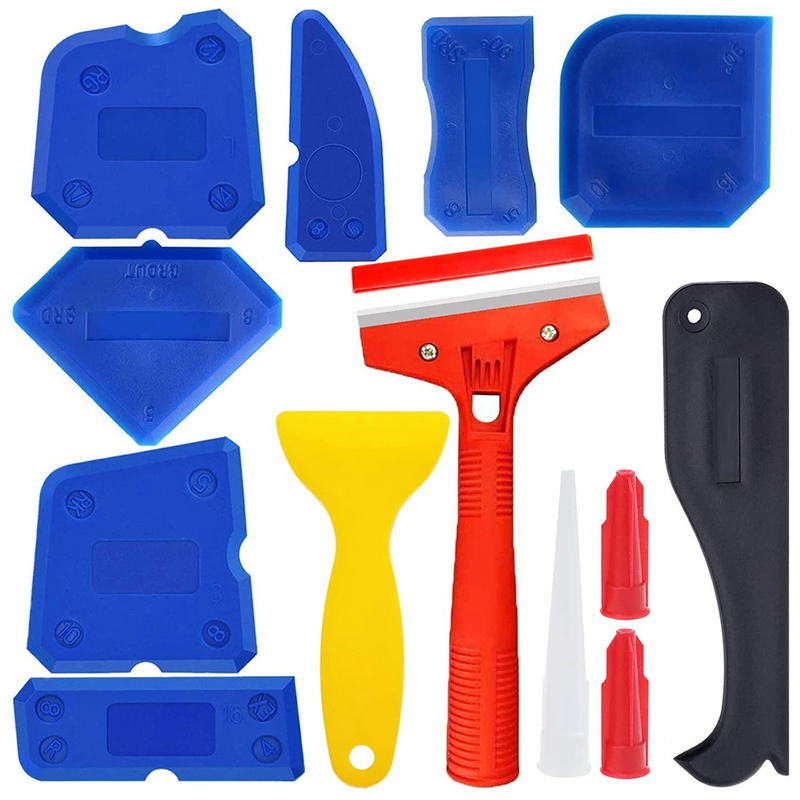 13 Pcs Sealant Tool Kit, Seal Dressing Tool with Silicone Scraper, Caulking Nozzle and Caulking Cap