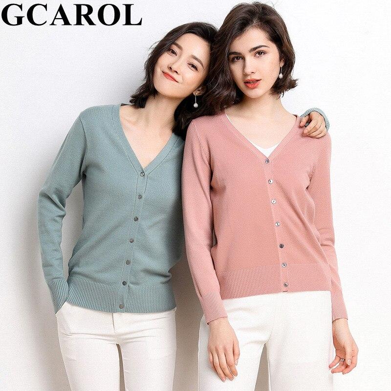 GCAROL 2020 New V Neck Women Candy 30% Wool Cardigan Minimalist Short Knit Jacket Breathable Multi Occasions Knitwear Plus Size