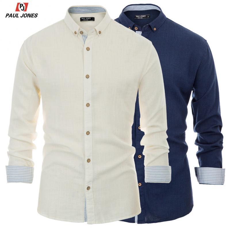 PAUL JONES Men's Regular Fit Long Sleeve Casual Shirts Soft 25% Linen Shirt Button Down Collar Contrast Striped Decorated Shirt