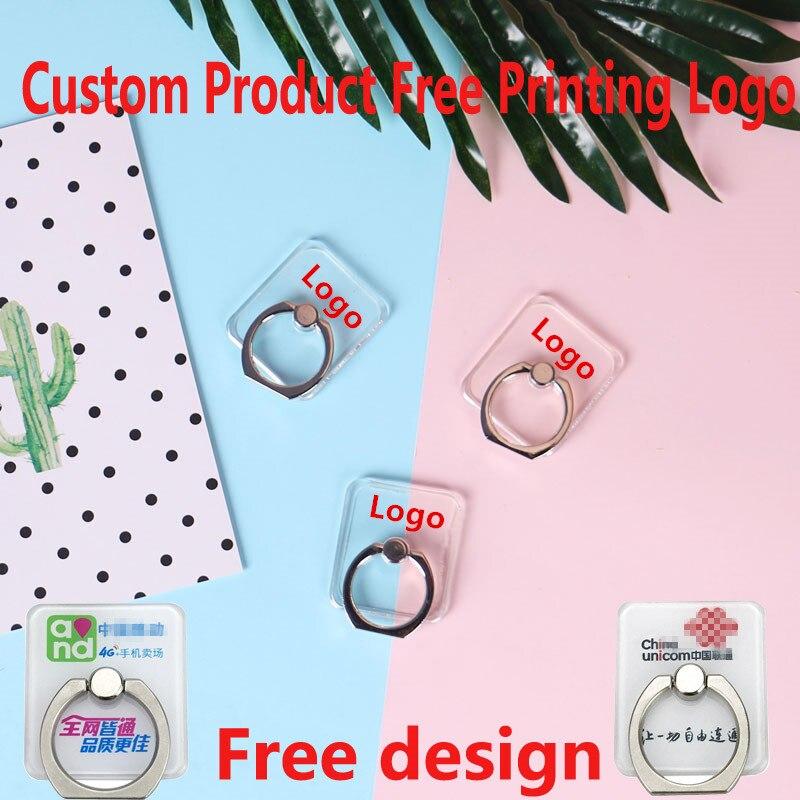 50-500pcs Customized Products Free Print Logo Crystal Ring Holder Cartoon Flat Holder Universal Phone Finger Ring Holder
