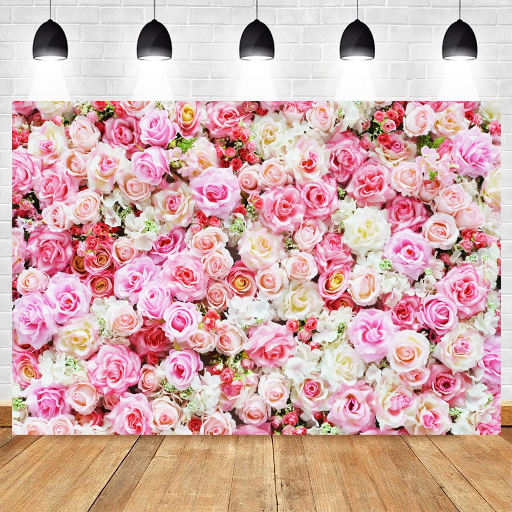 Baby Birthday Backdrop Wedding Photocall Pink Flower Floral Photographic Photography Background For Photo Studio Photophone Prop